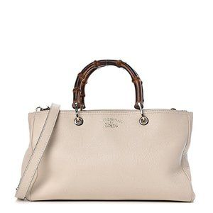 Gucci Pebbled Calfskin Bamboo Shopper with Strap